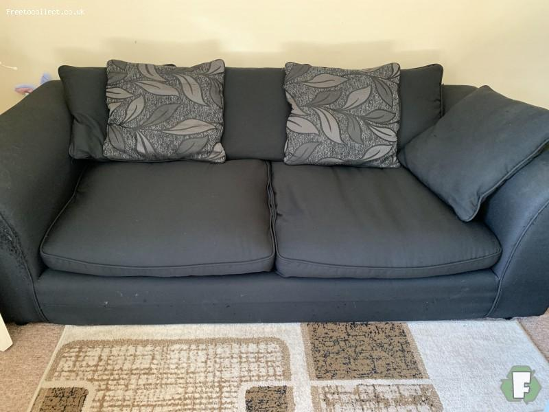 Black 3 seater sofa  at www.freetocollect.co.uk