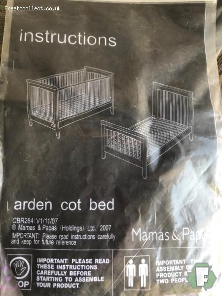 Mamas and Papas cot bed  at www.freetocollect.co.uk